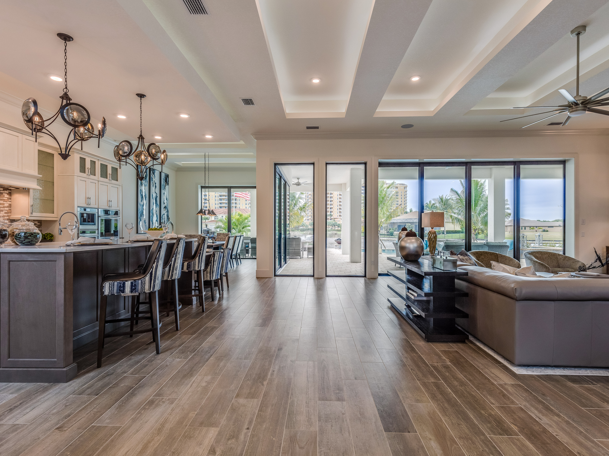 Hardwood floor in open floor plan home